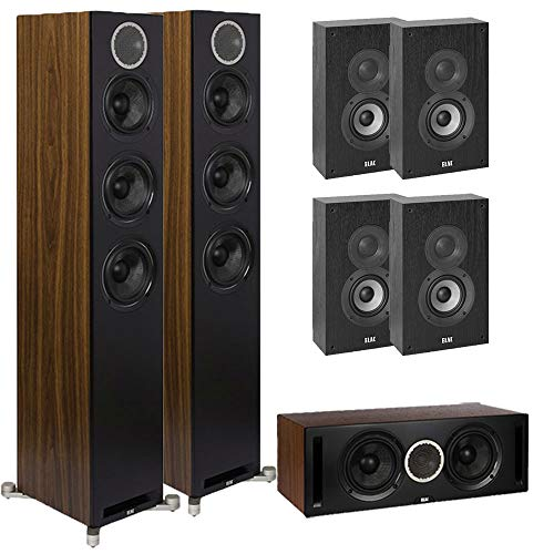Lowest Price! ELAC 7.0 Debut Reference DFR52 Home Theater System with On-Wall Surrounds - Black/Waln...