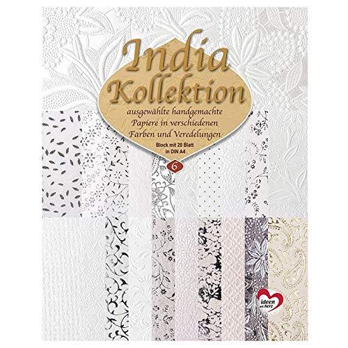 Handgeschöpftes Deko-Papier | India Kollektion | Hochwertig veredelt | DIN A4 | Block mit 20 Blatt (Sortierung 6)