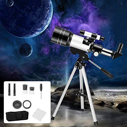 InLoveArts Telescopio para Principiantes 70 mm, 15X ~ 150X telescopio astronómico portátil de 70 mm, el mejor regalo para que los niños inspiren su curiosidad y sed de conocimiento con 16 accesorios