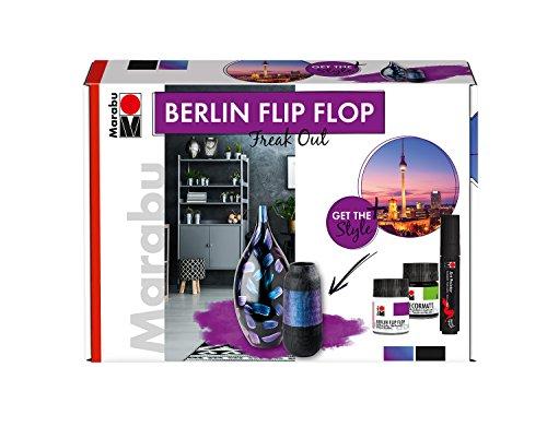 Marabu 1270000000080 - Halblasierende Chamäleon Farbe im Set, Berlin Flip Flop Freak Out, auf Wasserbasis, lichtecht, wetterfest, schnell trocknend, 2 x 50 ml Farbe, Art Painter schwarz und Pinsel