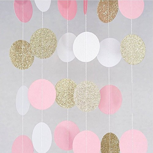 BTSD-home Glitter Paper Garland Circle Dots Party Decorations for Christmas Wedding Bridal Showers Birthday Baby Shower, 2 Pack (gold glitter/pink/white)