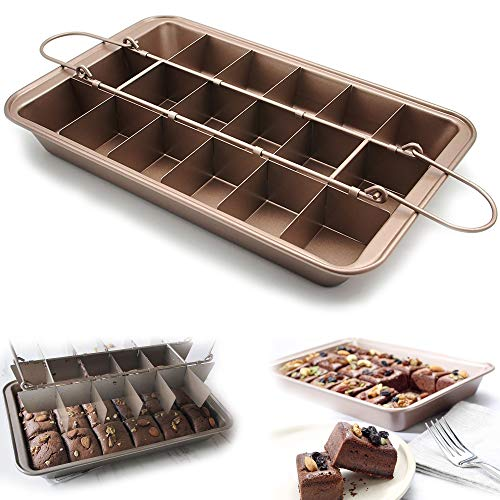 KLEVERISE Non Stick Divided Brownie Pans with Dividers Baking Tray with Grips for Oven Baking Slice Solutions Cake Bakeware Square Baking Pan with Builtin Slicer 12 by 8 inches