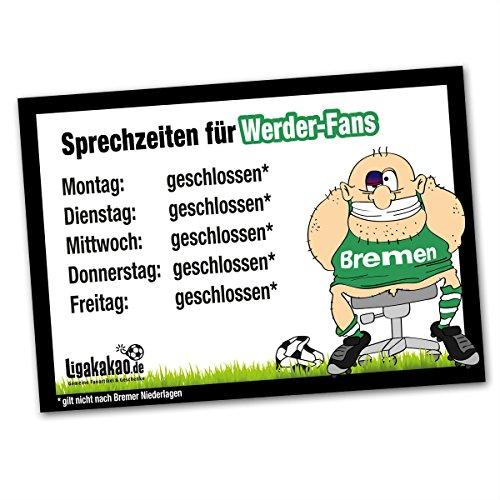 Büro-Abwehrschild Bremen | Schützt den Arbeitsplatz von HSV-, St.Pauli- & Allen Fußball-Fansvor verirrten Bremen-Fans | Öffnungszeiten Sprechzeiten-, Eingangs- & Tür-Schild