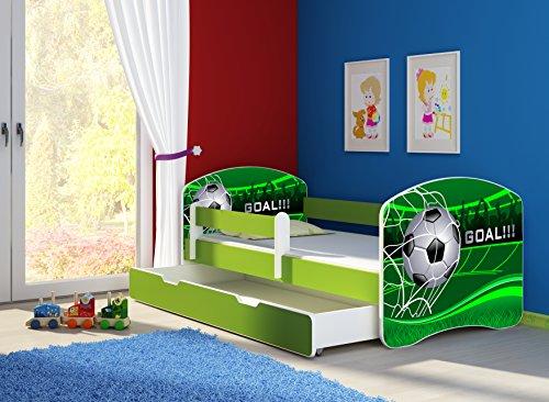 Clamaro 'Fantasia Grün' 180 x 80 Kinderbett Set inkl. Matratze, Lattenrost und mit Bettkasten Schublade, mit verstellbarem Rausfallschutz und Kantenschutzleisten, Design: 14 Fußball Toor