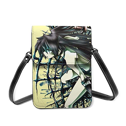 XCNGG Crossbody Cell Phone Purse, Anime Black Rock Shooter Small Crossbody Bags - Women PU Leather Multicolor Handbag with Adjustable Strap