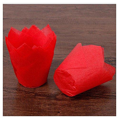 Rameng Lot de 50 Caissettes à Muffin Pliées en Forme de Tulipe en Papier Cupcake et Muffins Gâteau Moule (Rouge)