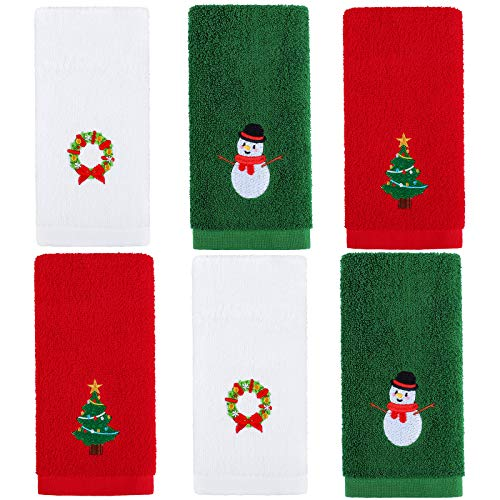 Aneco 6 Pack Christmas Hand Towels Washcloths 12 x 18 Inches 100% Pure Cotton Towels Bathroom Decorative Dish Towels Set, Christmas Pattern Design Christmas Towels Gift Set (Red, White, Green)