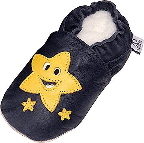 Lappade Star Pirat LKW Bagger Auto Flugzeug Stern Lederpuschen Hausschuhe Krabbelschuhe Baby Lauflernschuhe mit Ledersohle (Art. 55 Gr. 25/26 EU)