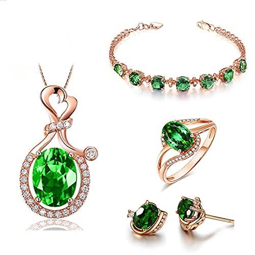 yuge Pendientes de plata de ley 925 collar pulsera de las mujeres conjunto de joyas esmeralda estilo retro joyería de compromiso