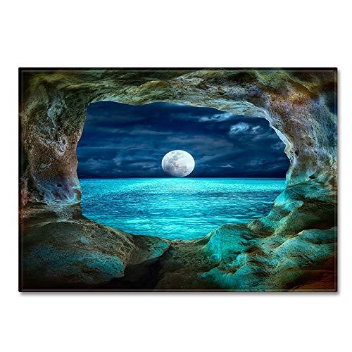 DRTWE Gran Terciopelo 3D impresión Nocturna Alfombra Moon Lake Patrón Antideslizante Infantil Infantil Jugar Estera Moderna Sala de Estar Cama Piso Pad casa decoración,50 * 80cm