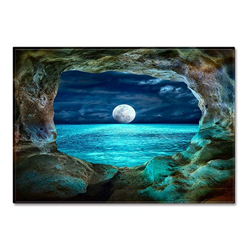 DRTWE Gran Terciopelo 3D impresión Nocturna Alfombra Moon Lake Patrón Antideslizante Infantil Infantil Jugar Estera Moderna Sala de Estar Cama Piso Pad casa decoración,120 * 180cm