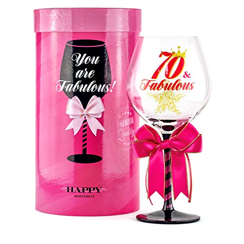 70 and Fabulous Birthday Wine Glass for Women