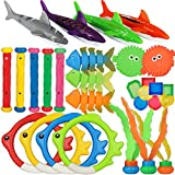 heytech 29 PCS Dive Toys Pool Toys Underwater Swimming Toys Diving Torpedos, Diving Rings, Diving Gems, Diving Sticks, Diving Fish, Puffer Fish with Under Water Treasures Gift Set Bundle