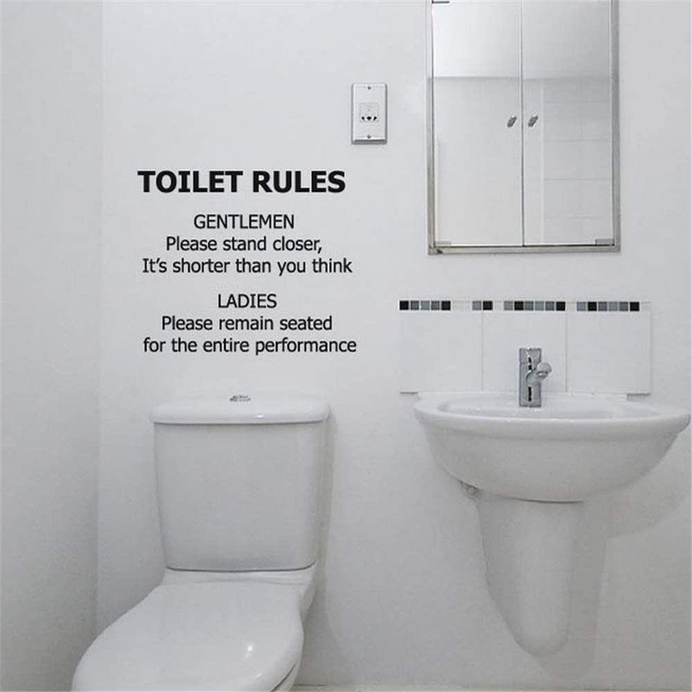 Toilet rules sticker.