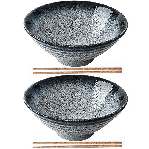 SAYOPIN Japanischen Stil Salat Schüssel Vintage Ramenschüsseln aus Keramik, Kreative Suppenschüsseln mit Stäbchen, Große Porzellan Schale 900ML, Schüssel für Müsli, Nudeln, Vorspeisen USW(Blau)