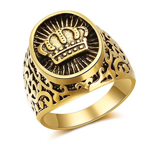 Chandler Anillo de Amuleto para Hombre Vintage Oro Antiguo Rey Corona Anillo de Protección para Hombres Mujeres Oriente Medio Árabe Dubai Joyería