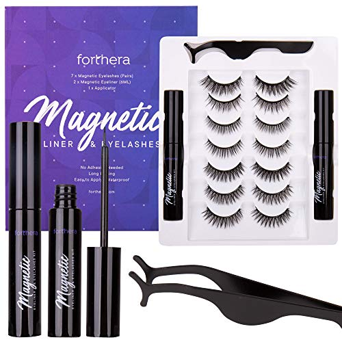 Forthera Magnetic Eyelashes with Eyeliner Kit - 7 Pairs of 3D Reusable Magnetic Eyelashes and 2 Tubes of Magnetic Eyeliner with Tweezers Inside - Easy to Apply with Natural Look