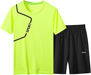 Ackful Men's Casual Fitness Fast Drying Elastic Short Sleeve Short Pants Sports Suit