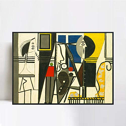 INVIN ART Framed Canvas Giclee Print Art Painter and Model by Pablo Picasso Wall Art Living Room Home Office Decorations(Black Slim Frame,24″x32″)