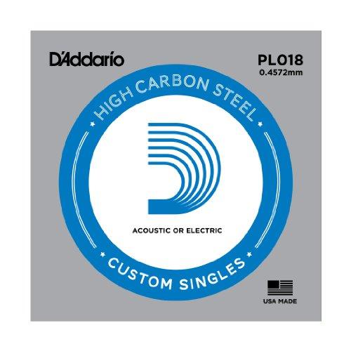 D'Addario PL018 - Cuerda individual de acero liso para guitarra, 0.4572 mm, plateado