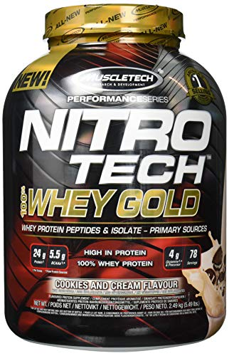 Whey Protein Pulver, MuscleTech Nitro-Tech Whey Gold Protein Isolate & Peptides, Eiweißpulver für den Muskelaufbau, Proteinpulver für Männer und Frauen, Cookies and Cream, 2.5 kg (76 Portionen)