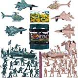 FUN LITTLE TOYS 232 PCs Army Men Action Figures Army Toys of WW 2, Toy Soldiers, Military Playset with a Map, Toy Tanks, Planes, Flags, Soldier Figures, Fences & Accessories