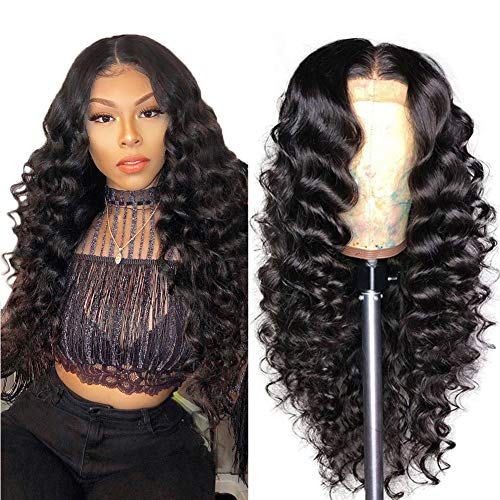 Allove 13X4 Loose Deep Wave Lace Front Wigs Human Hair with Baby Hair Pre Plucked 20inch Brazilian Virgin Remy Human Hair Wigs for Black Women 150% Density 10a Natural Hairline Wig Natural Color