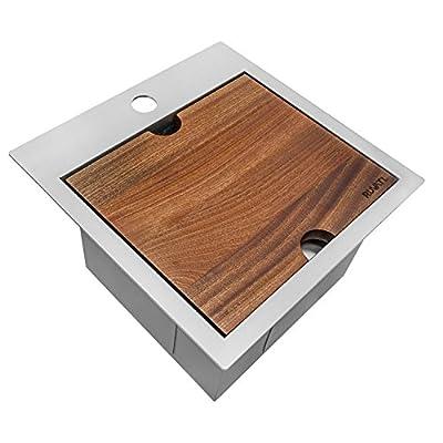 Ruvati 15 x 15 inch Workstation Drop-in Topmount Bar Prep RV Sink 16 Gauge Stainless Steel - RVH8215 from Ruvati USA