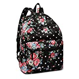 <span class='highlight'><span class='highlight'>Kono</span></span> Women Casual Daypack Backpack for Teenagers Students Girls Rucksack All-Over Flowers Polka Dots Printed Canvas School Bag Bookbag with Front Pocket (Black)