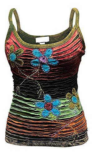 Shopoholic FASHION DAMEN RASIERER Schnitt 100% Baumwolle Hippy Tank Top - Blume razercut, Large