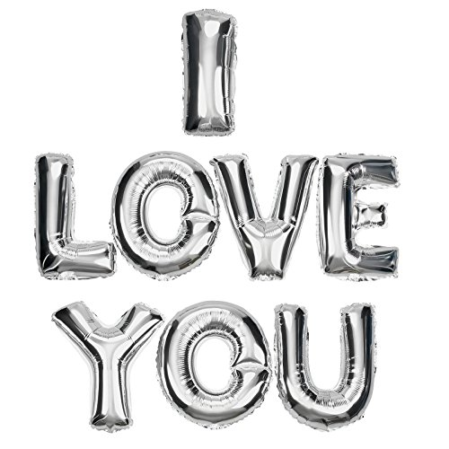DekoRex ® I Love You Ballons in Silber 40cm Folienballons Buchstabenballons Luftballon Heliumballons
