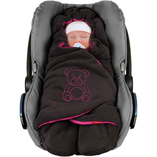 """ByBoom Baby Winter-Einschlagdecke""""Das Original mit dem Bären"""", Universal für Babyschale, Autositz, z.B. für Maxi-Cosi, Römer, für Kinderwagen, Buggy oder Babybett"""