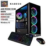 iBUYPOWER Pro Gaming PC Computer Desktop Element MR9700v2 (AMD Ryzen 3 3100 3.6GHz, AMD Radeon RX 570 4GB, 8GB DDR4 RAM, 240GB SSD, 1TB HDD, WiFi Ready, Windows 10 Home)
