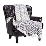 Chanasya Grid Chevron Soft Cotton Throw Blanket With Tassels - Warm Cozy Textured Decorative Rustic Woven Lightweight Blanket for Bed Sofa Chair Couch Cover Living Bed Room Blanket (50x65 Inches) Gray