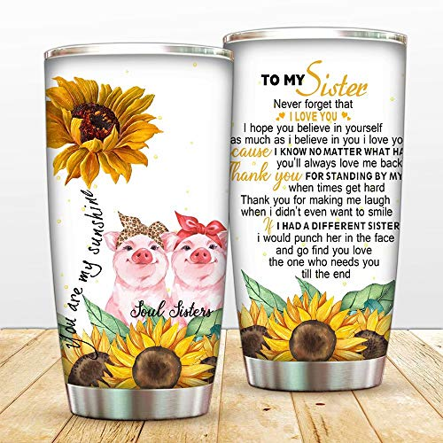 Sunflower Sould Sister Pig Vacuum Tumbler Cups I Have A Different Insulated Coffee Mugs with Lid,To Sister,Best Friend Thermos,Pigs Bottle for Travel,Work,Fitness Cold Warm Beverage