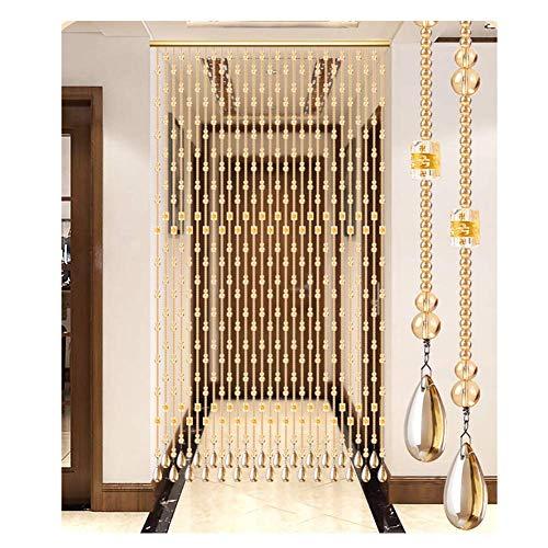 ZTMN Cortina de Cuentas de Cristal Cortina de Cadena de Puerta Hecha a Mano Divisor de habitación Moda y Simplicidad Partición Decorativa (+ Herrajes Colgantes) (Color: Dorado, tamaño: 60cmx155cm