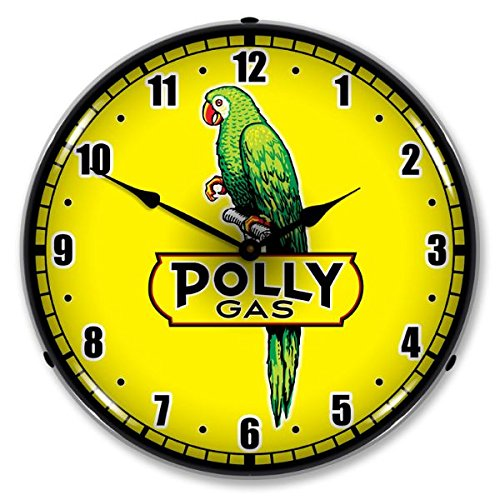 The Finest Website Inc. New Polly Gas 2 Retro Vintage Style Advertising LED Lighted Clock - Ships Free Next Business Day to Lower 48 States