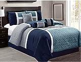 7 Piece Luxury Bed in Bag Comforter Set - 20617 (Queen, Grey/Navy/Teal)