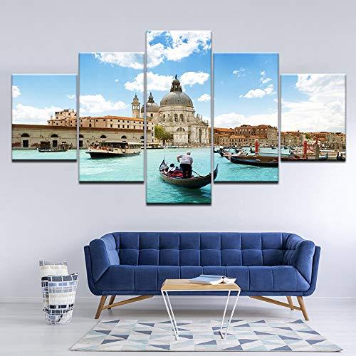 ZLARGEW Cuadro en Lienzo Gran Canal Venecia Italia Ventana 5 Piezas Arte de la Pared Pintura Modular Poster...