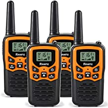 Rivins RV-7 Walkie Talkies for Adults Long Range 4 Pack 2-Way Radios Up to 5 Miles Range in Open Field 22 Channel FRS/GMRS Walkie Talkies UHF Handheld Walky Talky (Black/Orange)
