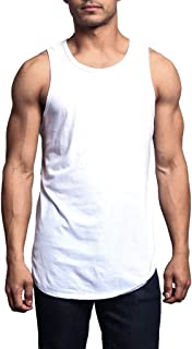 Corriee Mens Summer Basic Vest Sleeveless Solid Color Curved Hem Tank Top Men's Leisure T-Shirts
