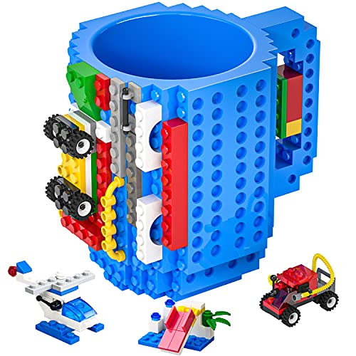 DAYMOO Build-On Brick Mug,Funny Coffee Mug Compatible with Lego,with 3 Packs of Blocks at Random,Building Blocks Cup for Kids,Unique Gifts Idea for Christmas(Blue)