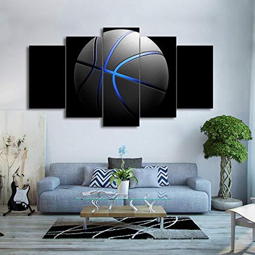 GBxebenYN02 5 Paneles de Baloncesto con línea Azul Lienzo Decorativo 5 Paneles impresión de Arte Lienzo Decorativo Obra de Arte vívida Pintura Colgante Lienzo 200x100cm