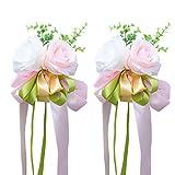 Vosarea 2pcs Rose Artificielle, Fleurs de Ruban pour décoration de Porte de Miroir de poignée de Voiture de Mariage