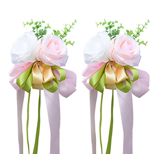 WINOMO 2Pcs Ribbon Flower for Wedding Artificial Rose Wedding Car Decoration Flower Mirror Door Decor