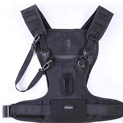Nicama Camera Carrying Chest Harness Vest with Secure Straps Compatible with 1 Camera Canon Nikon Sony Panasonic Olympus DSLR for Hiking