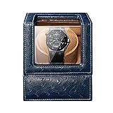 WZ Automático Caja Bobinas Un Solo Reloj 5 Modo Rotación Doble Fuente Alimentación Almohada Reloj Flexible Cuero Avestruz (Color : Blue)