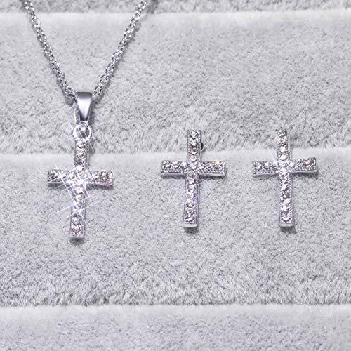 Saicowordist Juego de pendientes, collar y pendientes de cruz para mujer, plata de ley 925, chapado en oro, collar con colgante de cruz