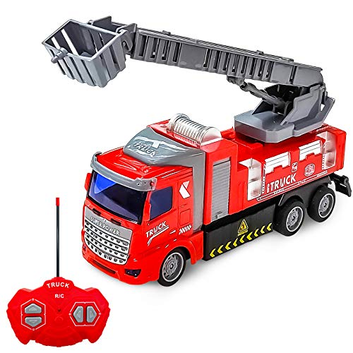HAOMARK Remote Control Car,Rc Cars - Remote Control Fire Truck with Extendable Ladder Fire Engine with Lights for Boys Kids Girls Age 3 and up