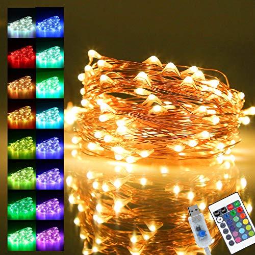 Cadena de Luces,Guirnalda de Luces con 16 Modos,Luces LED Multicolores,Guirnalda Luces LED USB,10m...